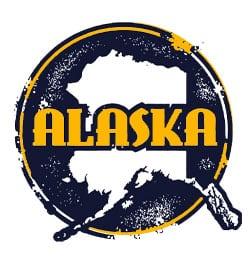 Alaska outline blue background