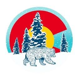 Colorado circle tree with flag logo