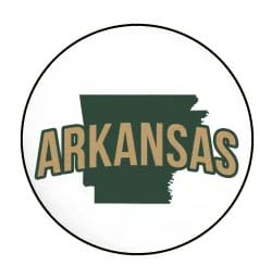 Arkansas state outline in a circle