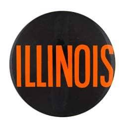 Illinois button black and orange